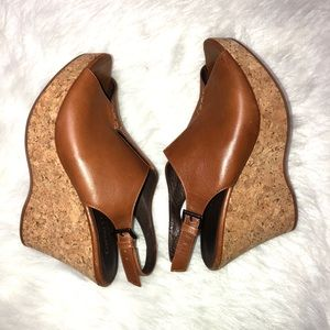 Garnet hill leather cork wedge sandals size 7